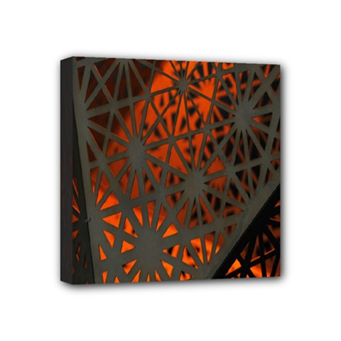 Abstract Lighted Wallpaper Of A Metal Starburst Grid With Orange Back Lighting Mini Canvas 4  X 4  by Nexatart