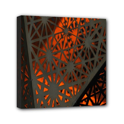 Abstract Lighted Wallpaper Of A Metal Starburst Grid With Orange Back Lighting Mini Canvas 6  X 6  by Nexatart