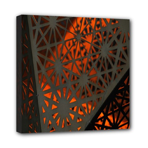 Abstract Lighted Wallpaper Of A Metal Starburst Grid With Orange Back Lighting Mini Canvas 8  X 8  by Nexatart