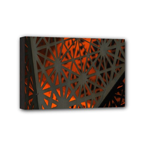 Abstract Lighted Wallpaper Of A Metal Starburst Grid With Orange Back Lighting Mini Canvas 6  X 4  by Nexatart