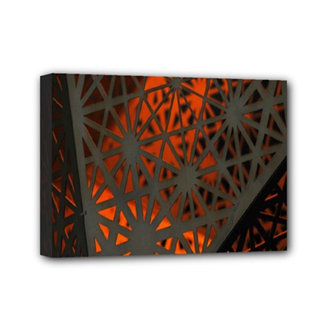 Abstract Lighted Wallpaper Of A Metal Starburst Grid With Orange Back Lighting Mini Canvas 7  X 5  by Nexatart