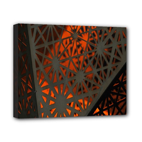 Abstract Lighted Wallpaper Of A Metal Starburst Grid With Orange Back Lighting Canvas 10  X 8  by Nexatart