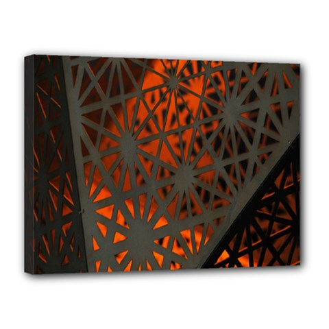 Abstract Lighted Wallpaper Of A Metal Starburst Grid With Orange Back Lighting Canvas 16  X 12  by Nexatart
