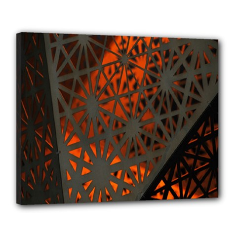 Abstract Lighted Wallpaper Of A Metal Starburst Grid With Orange Back Lighting Canvas 20  X 16  by Nexatart