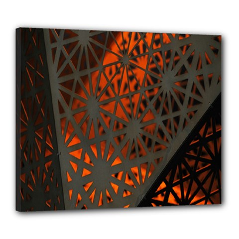 Abstract Lighted Wallpaper Of A Metal Starburst Grid With Orange Back Lighting Canvas 24  X 20  by Nexatart