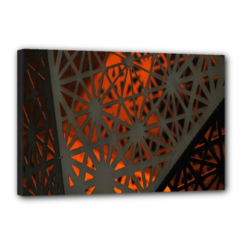 Abstract Lighted Wallpaper Of A Metal Starburst Grid With Orange Back Lighting Canvas 18  X 12  by Nexatart