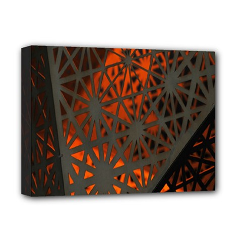 Abstract Lighted Wallpaper Of A Metal Starburst Grid With Orange Back Lighting Deluxe Canvas 16  X 12   by Nexatart