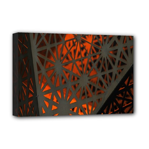Abstract Lighted Wallpaper Of A Metal Starburst Grid With Orange Back Lighting Deluxe Canvas 18  X 12   by Nexatart