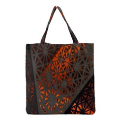 Abstract Lighted Wallpaper Of A Metal Starburst Grid With Orange Back Lighting Grocery Tote Bag by Nexatart