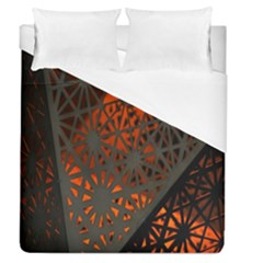 Abstract Lighted Wallpaper Of A Metal Starburst Grid With Orange Back Lighting Duvet Cover (queen Size) by Nexatart