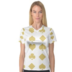 Card Symbols Women s V Neck Sport Mesh Tee by Mariart