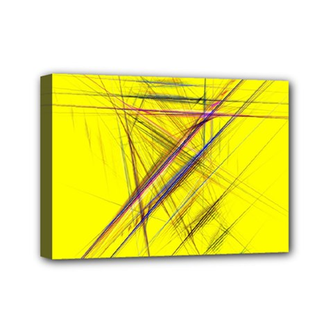 Fractal Color Parallel Lines On Gold Background Mini Canvas 7  X 5  by Nexatart