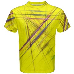 Fractal Color Parallel Lines On Gold Background Men s Cotton Tee