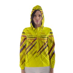 Fractal Color Parallel Lines On Gold Background Hooded Wind Breaker (women)