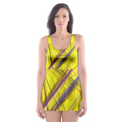 Fractal Color Parallel Lines On Gold Background Skater Dress Swimsuit by Nexatart