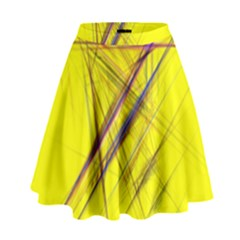 Fractal Color Parallel Lines On Gold Background High Waist Skirt by Nexatart
