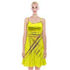 Fractal Color Parallel Lines On Gold Background Spaghetti Strap Velvet Dress