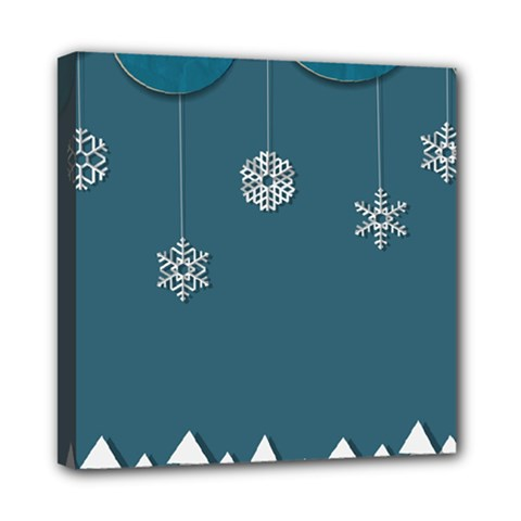 Blue Snowflakes Christmas Trees Mini Canvas 8  X 8  by Mariart
