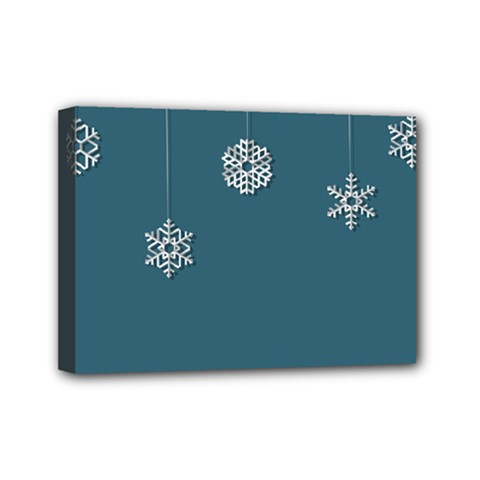 Blue Snowflakes Christmas Trees Mini Canvas 7  X 5  by Mariart