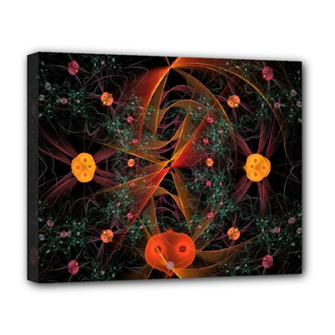 Fractal Wallpaper With Dancing Planets On Black Background Deluxe Canvas 20  X 16