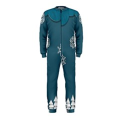 Blue Snowflakes Christmas Trees Onepiece Jumpsuit (kids) by Mariart