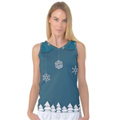Blue Snowflakes Christmas Trees Women s Basketball Tank Top by Mariart