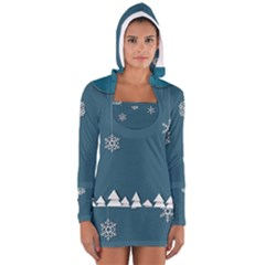 Blue Snowflakes Christmas Trees Women s Long Sleeve Hooded T Shirt by Mariart