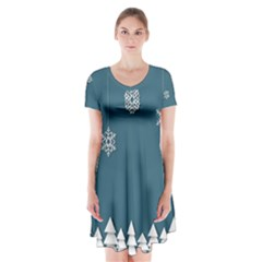 Blue Snowflakes Christmas Trees Short Sleeve V Neck Flare Dress by Mariart