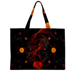 Fractal Wallpaper With Dancing Planets On Black Background Zipper Mini Tote Bag by Nexatart