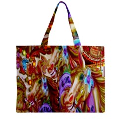 3 Carousel Ride Horses Zipper Mini Tote Bag by Nexatart