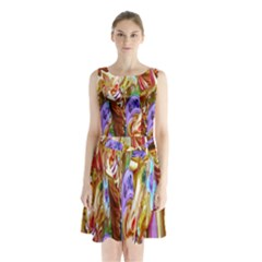 3 Carousel Ride Horses Sleeveless Chiffon Waist Tie Dress by Nexatart