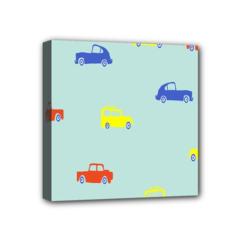 Car Yellow Blue Orange Mini Canvas 4  X 4