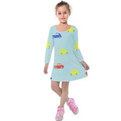 Car Yellow Blue Orange Kids  Long Sleeve Velvet Dress by Mariart