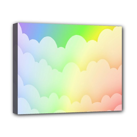 Cloud Blue Sky Rainbow Pink Yellow Green Red White Wave Canvas 10  X 8  by Mariart