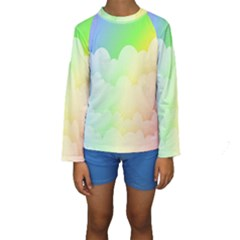 Cloud Blue Sky Rainbow Pink Yellow Green Red White Wave Kids  Long Sleeve Swimwear by Mariart