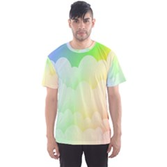 Cloud Blue Sky Rainbow Pink Yellow Green Red White Wave Men s Sport Mesh Tee