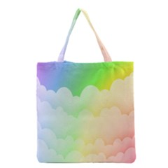 Cloud Blue Sky Rainbow Pink Yellow Green Red White Wave Grocery Tote Bag by Mariart