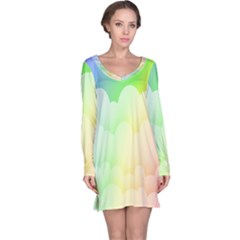 Cloud Blue Sky Rainbow Pink Yellow Green Red White Wave Long Sleeve Nightdress by Mariart