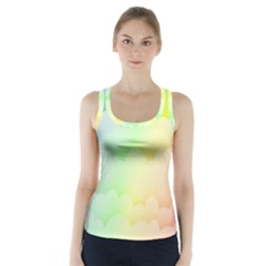 Cloud Blue Sky Rainbow Pink Yellow Green Red White Wave Racer Back Sports Top by Mariart