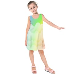 Cloud Blue Sky Rainbow Pink Yellow Green Red White Wave Kids  Sleeveless Dress