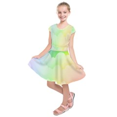 Cloud Blue Sky Rainbow Pink Yellow Green Red White Wave Kids  Short Sleeve Dress by Mariart