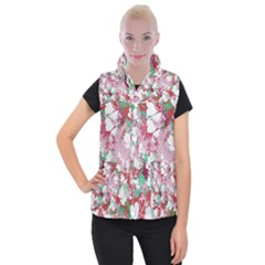 Confetti Hearts Digital Love Heart Background Pattern Women s Button Up Puffer Vest by Nexatart