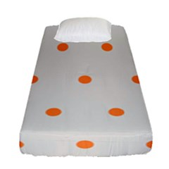 Diamond Polka Dot Grey Orange Circle Spot Fitted Sheet (single Size) by Mariart