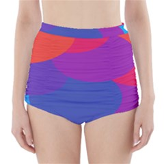 Circles Colorful Balloon Circle Purple Blue Red Orange High Waisted Bikini Bottoms by Mariart