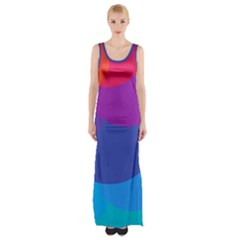 Circles Colorful Balloon Circle Purple Blue Red Orange Maxi Thigh Split Dress by Mariart