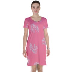 Branch Berries Seamless Red Grey Pink Short Sleeve Nightdress by Mariart