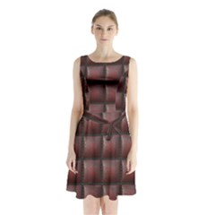 Red Cell Leather Retro Car Seat Textures Sleeveless Chiffon Waist Tie Dress by Nexatart