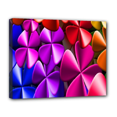 Colorful Flower Floral Rainbow Canvas 14  X 11  by Mariart