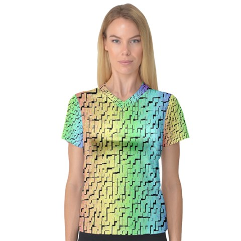 A Creative Colorful Background Women s V-neck Sport Mesh Tee by Nexatart