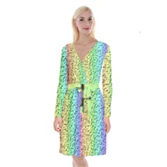 A Creative Colorful Background Long Sleeve Velvet Front Wrap Dress